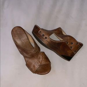 Brown Leather BedStu Platform Shoes
